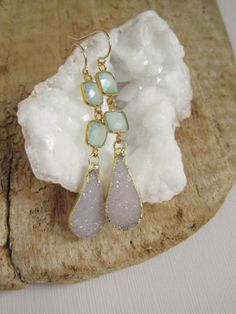 Linear Druzy Earrings Drusy Quartz Drops Sea by julianneblumlo, $104.00