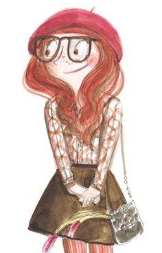 Red hair girl,  Ania Simeone illustration
