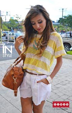 #FashionBySIMAN & Sweet&Style: Construye  un look relajado y fresco en estas tardes de calor utilizando tonos blancos y amarillos. http://www.sweetandstylegt.blogspot.com/2014/07/look-of-day-casual-in-shorts.html