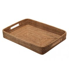Rattan Serving Tray Rectangular Farmhouse Laundry Room Decor Decorative Plates