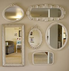 A Diamond in the Stuff-mirror-wall-gallery. different shapes & sizes Decor, Mirror Gallery Wall, Wall, Home Decor, Beautiful Mirrors, Mirror Collage, Mirror Gallery, Mirror Wall, Mirror
