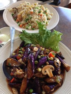 San Wang Restaurant - San Francisco, CA, United States. Combo fried rice on top and eggplant sautéed in black bean garlic sauce! Best eggplant ever