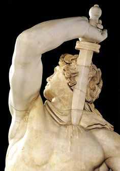 """Epigonos(?), Gallic chieftain killing himself and his wife. Roman marble copy after a bronze original from Pergamon, Turkey, ca. 230-220 BCE, approx. 6' 11"""" high. Museo Nazionale Romano-Palazzo Altemps, Rome."""