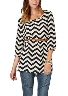 Belted Black Chevron Keyhole Back Tunic Top | Tops | rue21