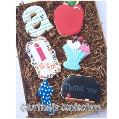 Teacher appreciation week thank you gifts decorated sugar cookies
