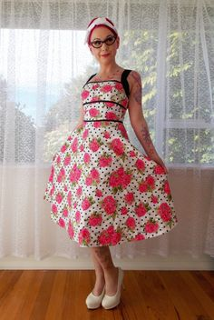 "1950s Rockabilly Dress ""Ginger""  with Polka dot and Rose fabric, Black Straps and Ribbon Trim - Custom made to fit on Etsy, $133.56"