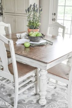 See how grandma's antique dining table and chairs is transformed and updated with chalk paint. | www.andersonandgrant.com