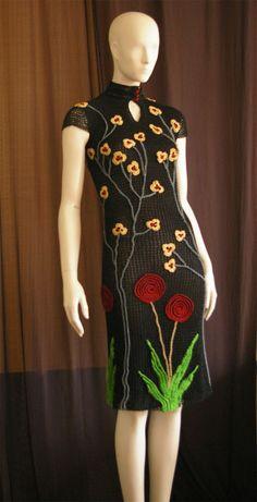 How to Crochet a Bodycon Dress/Top - Crochet Ideas Black Crochet Dress, Crochet Skirts, Crochet Cardigan, Crochet Clothes, Knit Dress, Dress Skirt, Mode Crochet, Knit Crochet, Vestidos Vintage