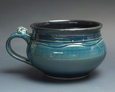 Handmade pottery soup mug ceramic chili mug cereal ice cream bowl 24 oz  3737a by BlueParrotPots on Etsy
