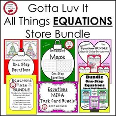 Do your middle school students need practice with Equations? Save 35% when you buy the Gotta Luv It All Things Equations Store Bundle. This bundle includes all Equation products sold in my store. Please see the product page for a listing of all products. Buy now at the current price and receive new products as they are added to the bundle. The price will increase as products are added.