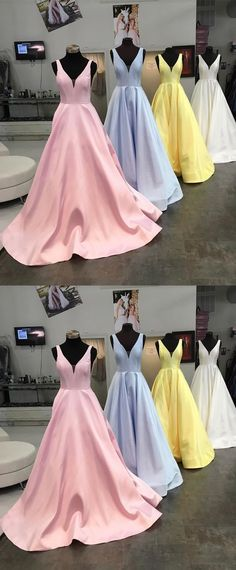 Princess V Neck Sky Blue Long Prom Dress M4017
