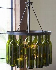 Cool things you can do with wine and liquor bottles - chandeliers, flower vases, candles, etc