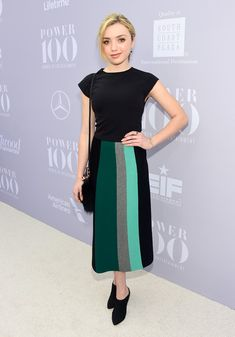 Peyton List paired a stylish color-block skirt with a fitted black top for her Women in Entertainment Breakfast look.