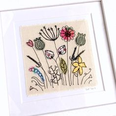 Wildflower meadow framed wall art picture gift stitched