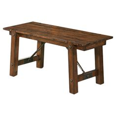 Rustic planked dining bench with rivet accents.  Product: Dining benchConstruction Material: Hardwoods and venee...