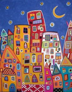 Abstract City    16x20 original folk art abstract modern cityscape painting on stretched canvas by Karla G