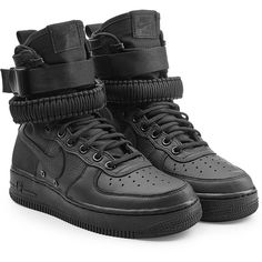 Nike SF Air Force 1 High Top Sneakers (€175) ❤ liked on Polyvore featuring shoes, sneakers, black, nike trainers, black hi tops, black high top shoes, black trainers and nike high tops