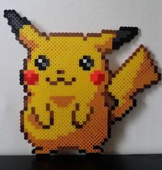 Pikachu Pokemon Perler Bead Sprite by PokemonPerlersPlus on Etsy