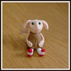 Cute little fimo polymer clay dobby... With added socks because he's a free elf! #harrypotter #charm