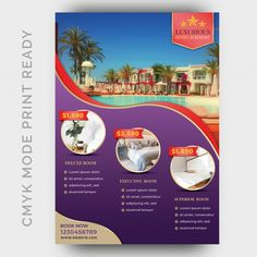 Luxury Hotel Template For Poster, Flyer, Magazine Page Hotel Brochure, Brochure Cover, Travel Brochure Design, Free Hotel, Real Estate Flyer Template, Hotel Services, Photoshop, Wedding Card Design, Social Media Design