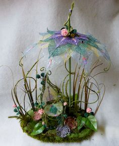 Fairy Garden Chair Umbrella Set Miniature Patio by NewberryThicket, $46.00