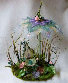 Fairy Garden Chair Umbrella Set Miniature Patio by NewberryThicket, $46.00