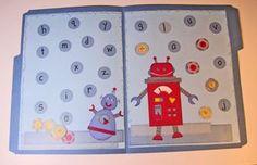 Robot lab alphabet matching file folder game pre-k File Folder Activities, File Folder Games, Classroom Activities, File Folders, Preschool Learning, Learning Games, In Kindergarten, Teaching, Preschool Plans