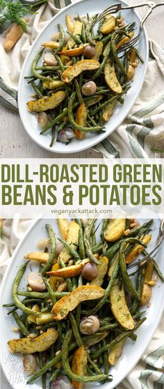 This recipe for Dill-Roasted Green Beans & Potatoes is a low-key hit at the dinner table - unassuming but incredibly delicious! (not to mention easy) #Vegan #soyfree #glutenfree