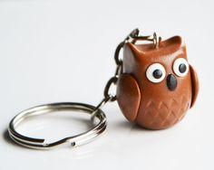 Owl Keyring Keychain Fimo Polymer Clay par ClaytimeDesignsUK, £9.00