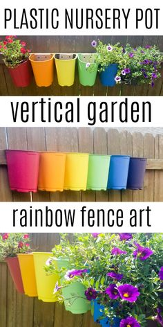 Use free plastic nursery pots for this easy garden craft! Paint and a few screws turn plain flower pots into a colorful vertical garden for your fence! This DIY garden art craft is quick and makes a big impact on your unique garden. Garden Fence Art, Easy Garden, Garden Pots, Plastic Plant Pots, Plastic Flower Pots, Rainbow Garden, Colorful Garden, Garden Crafts, Diy Garden Decor