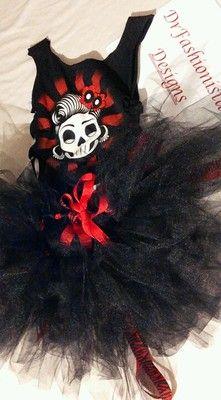 Rebel Rockabilly Fashionista Tutu Red Black Zebra Day of The Dead Sugar Skull | eBay