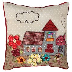 A small appliqué cottage design cushion for cuddling scattering or for a child s chair Comes ready filled Dry clean only Patchwork Cottage Cushion Patchwork Cushion, Quilted Pillow, Cottage Cushions, Sewing Crafts, Sewing Projects, Cute Cushions, Quilting, Free Motion Embroidery, Art Textile