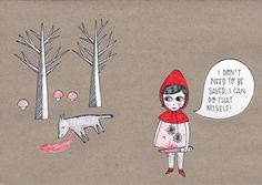Feminist little red riding hood Little Red Ridding Hood, Red Riding Hood, The Bell Jar, Tumblr, Dark Art, Girl Power, Fairy Tales, Print Design, Illustration Art