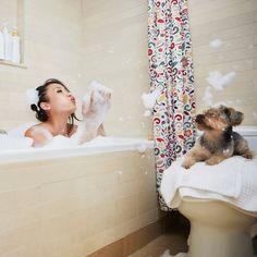 Spending all day in the tub! It's National #BubbleBath Day! Jasper Cole for Blend Images #nationalbubblebathday