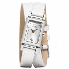 Madison Stainless Steel Wrap Watch in White from Coach