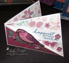 Here are a few more Twist Fold cards, these are whole lot of fun, so much you can do with them!   I've used Best Birds stamp set and Blooms ...