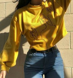 yellow, outfit, and style image Grunge Style Outfits, Style Grunge, Casual Outfits, Fashion Outfits, Womens Fashion, Jeans Fashion, Casual Shirt, Weird Outfits, Fashion Pics