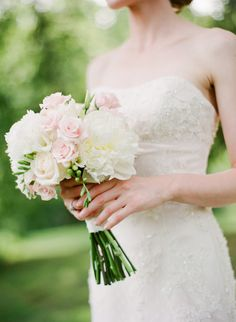 simple wedding bouquet // pink and white roses + white peonies