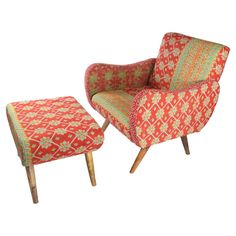 Bring a touch of bohemian style to your decor with this exotic arm chair and ottoman, crafted from mango wood and showcasing vintage kantha cloth upholstery. Old Chairs, Eames Chairs, Pink Chairs, Retro Chairs, Dining Chairs, Home Decor Furniture, Cool Furniture, Deco Furniture, Chair And Ottoman Set