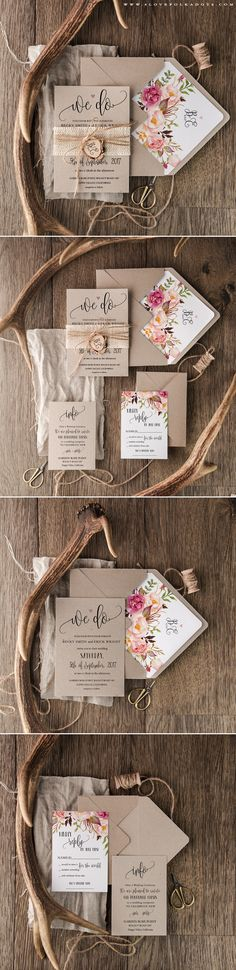 We Do <3 Wedding Invitation with wooden tag & floral printing…