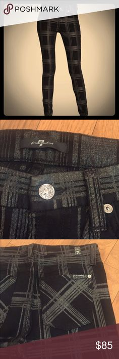 """7 for All Mankind Metallic Plaid Skinny Pant Seven for All Mankind metallic plaid skinny jeans. Black with dark silver metallic. 30"""" inseam. 10.5"""" around at ankle. Size 28. 87% cotton. 10% metallic. 3% spandex. 7 For All Mankind Jeans Skinny"""