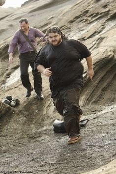 Ben (Michael Emerson) and Hurley (Jorge Garcia) on the set of LOST.