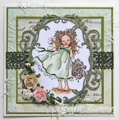 Green is my favourite colour and recently a friend of mine reminded me how beautiful cards done in green can be. Penny Black Cards, Mo Manning, Marianne Design, People Art, Cute Images, Digi Stamps, Copics, Kids Cards, Cool Cards