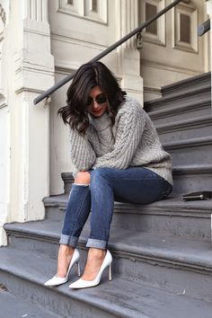 A simple everyday sweater-jeans-heels outfit