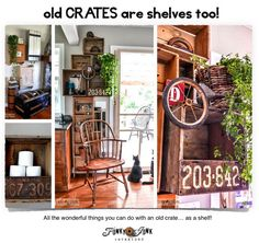 Old crates are shelves too! How to use an old crate as a shelf, creative ideas, plus where to find them! #ebay