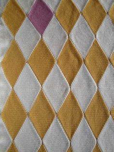Crocheted gold and mauve Harlequin Afghan / Blanket. $250.00, via Etsy.