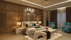 The French quilting on the backdrop of the bedroom is highlight by using copper leafing in antique finish. Bedroom Designs India, Luxury Bedroom Design, Master Bedroom Design, Bedroom Layouts, Bedroom Styles, Bedroom Colors, Modern White Living Room, Big Bedrooms, Contemporary Bedroom Furniture