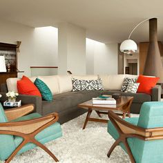Brown And Aqua Living Room Ideas Google Search Blue Chairs Retro Modern