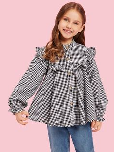 SHEIN offers Toddler Girls Gingham Frill Trim Blouse & more to fit your fashionable needs. Frocks For Girls, Toddler Girl Dresses, Girls Dresses, Toddler Girls, Girls Frock Design, Baby Dress Design, Baby Frocks Designs, Kids Frocks Design, Moda Kids