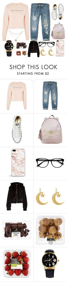 """""""Welcome to NewYork, its been waitin for you (RTD)"""" by basmahahmed ❤ liked on Polyvore featuring Topshop, Hollister Co., Converse, T-shirt & Jeans, EyeBuyDirect.com and Helmut Lang"""